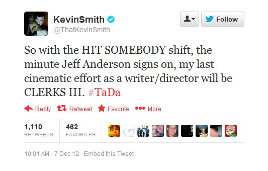 Kevin Smith Tweet