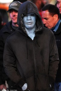 Jamie Foxx as Electro on set