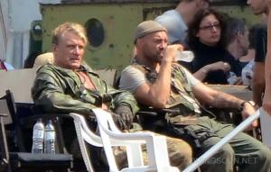 Lundgren and Couture on the set of EX3
