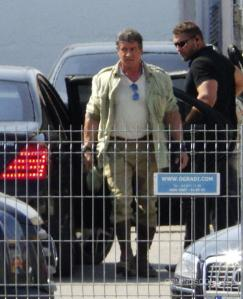 Stallone arriving on set of EX3