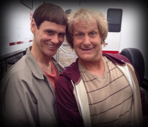 Jim Carrey and Jeff Daniels on set of Dumb and Dumber To