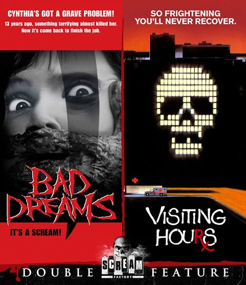 Scream Factory Bad Dreams and Visiting Hours blu pre-art